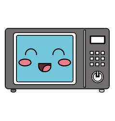 oven microwave kawaii character vector image