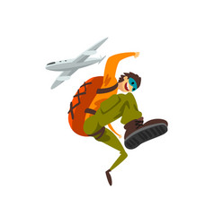 Paraschutist jumping out of an airplane skydiving vector