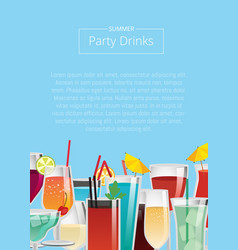 Party drinks various cocktails set beverage vector