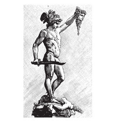 Perseus sculpture holding a decapitated head vector