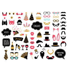 Photobooth accessories wedding day celebrations vector
