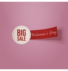 Realistic Valentines Day white Big Sale Label vector