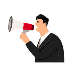 screaming man with bullhorn vector image