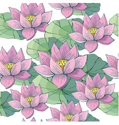 seamless background pink lotus water beautiful vector image