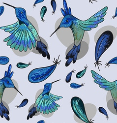 seamless with hummingbirds vector image