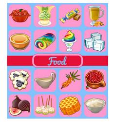 Set delicious desserts and healthy food sketch vector
