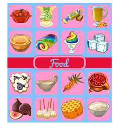 Set of delicious desserts and healthy food sketch vector
