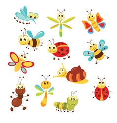 Set of funny insects vector