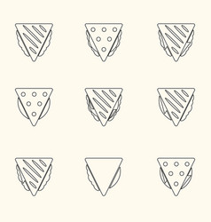 Set of outline tortilla or sandwich tacos food vector