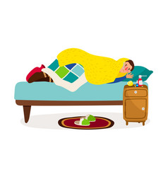 Sick man in bed cold fever ill character vector