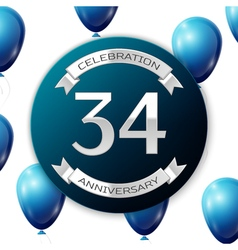 Silver number thirty four years anniversary vector