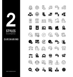 simple line icons carsharing vector image