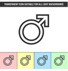 Simple outline transparent mars or male symbol vector