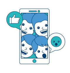 smartphone people talking hand like and emoticon vector image