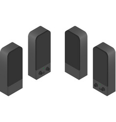 Speakers in isometric view from four sides vector