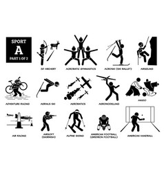 Sport games alphabet a icons pictograph 3d archery vector