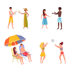 summer resort for friends family set playing vector image