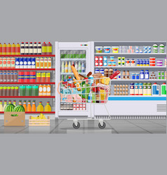 Supermarket store interior with goods vector