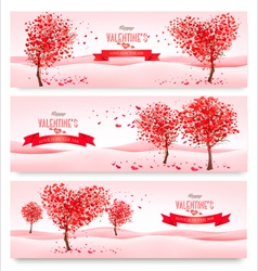 Three Holiday banners Valentine trees with vector image