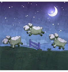 three sheep jumping over fence vector image