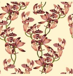 tropical vintage beige brown orchid flower vector image