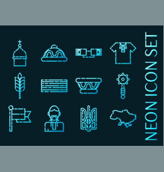 ukraine set icons blue glowing neon style vector image