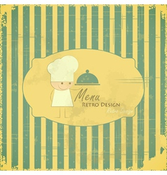Vintage Menu Card with chefs on striped background vector