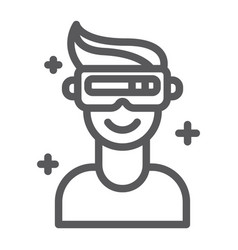 vr game line icon game and virtual vr glasses vector image