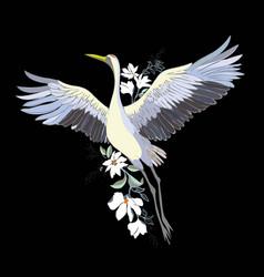 Watercolor set of bird crane white stork vector