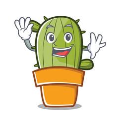 waving cute cactus character cartoon vector image