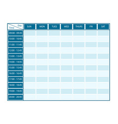 Weekly template for seven days with timeline vector