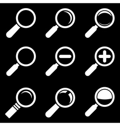White Magnifier Glass Icons vector