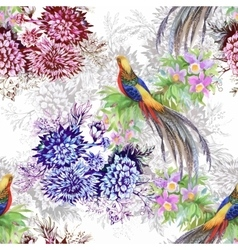 Wild Pheasant animals birds in watercolor floral vector image