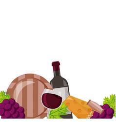 wine bottle cup barrel cheese crokscrew grapes vector image
