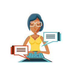 Woman black with laptop and speech bubbles vector