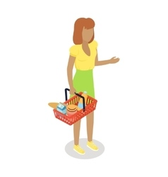 Woman with Cart Purchases in Flat Design vector image