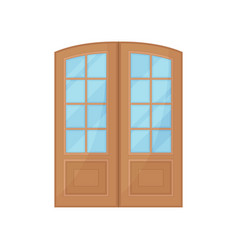 wooden door with glass on white background vector image