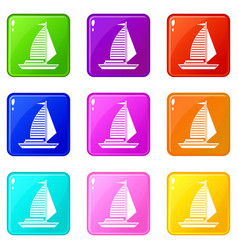 Yacht with sails icons 9 set vector