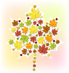 Autumn leaf made from small leaves vector image