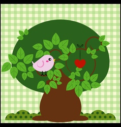 Bird in a tree with love vector image vector image
