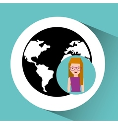 girl cute globe social media icon vector image vector image
