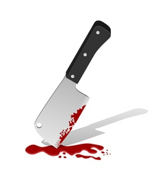big knife with blood vector image vector image