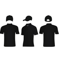 black polo t shirt and baseball cap vector image