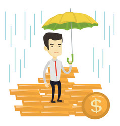 business man insurance agent with umbrella vector image vector image