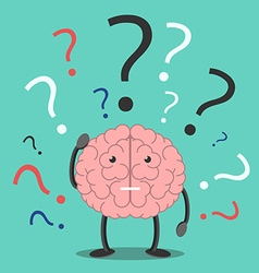 Confused brain character thinking vector