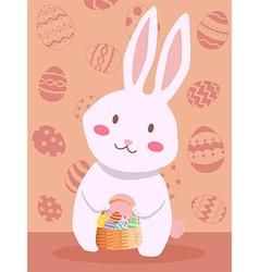 Easter Rabbit Carrying Easter Egg Basket vector image