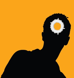 man head and hole on it vector image