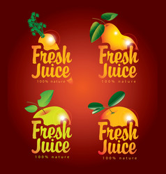 set of fresh juices with pictures of fruit vector image