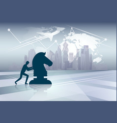 Silhouette business man pushing cess figure new vector