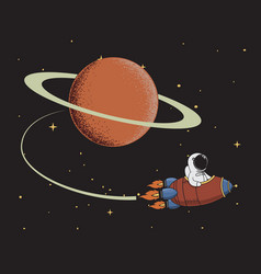 spaceman come back after mission to saturn vector image
